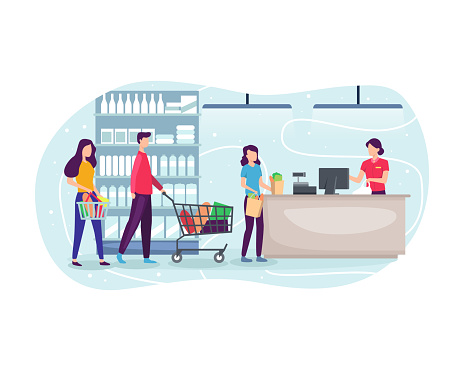 People shopping at supermarket and buying product