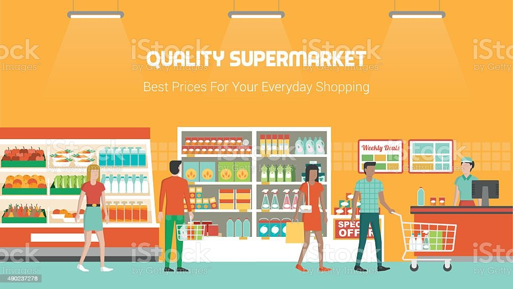 People shopping at supermarket vector art illustration