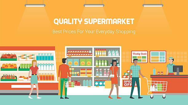 stockillustraties, clipart, cartoons en iconen met people shopping at supermarket - bevroren voedsel