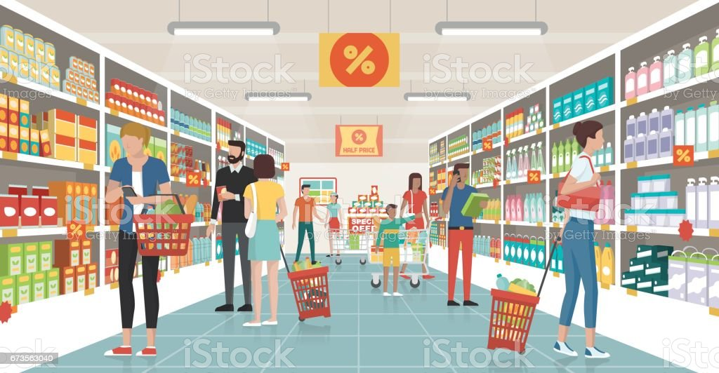 People shopping at the supermarket vector art illustration