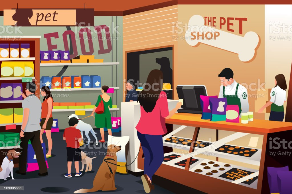 People Shopping For Their Pets at Pet Shop vector art illustration