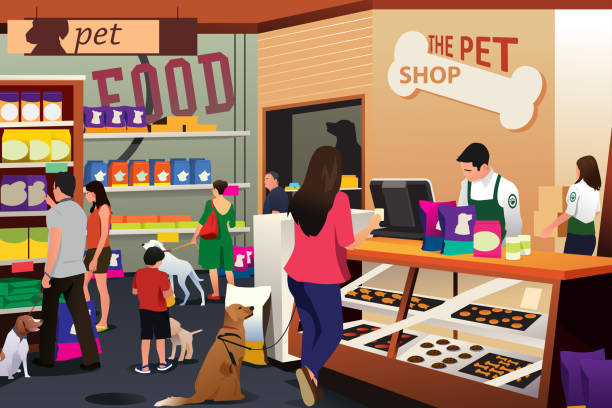 people shopping for their pets at pet shop - small business owner stock illustrations