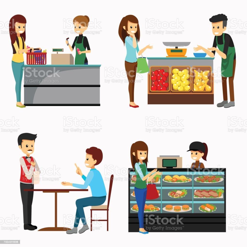 Menschen Einkaufen Lebensmittel Cliparts Stock Vektor Art und mehr ...