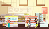 People shopping in grocery store. Supermarket retail interior with customers flat vector illustration