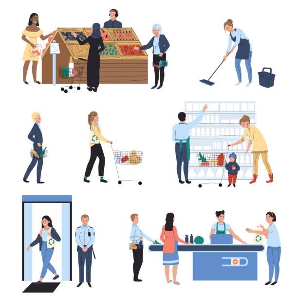 ilustrações de stock, clip art, desenhos animados e ícones de people shopping in supermarket, grocery store vector illustration - supermarket worker
