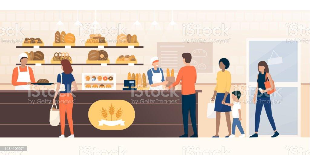 Mensen winkelen in de bakkerij - Royalty-free Bakker vectorkunst