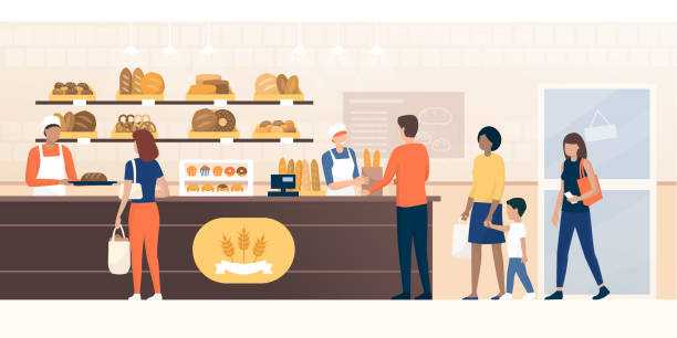 people shopping in the bakery - пекарня stock illustrations