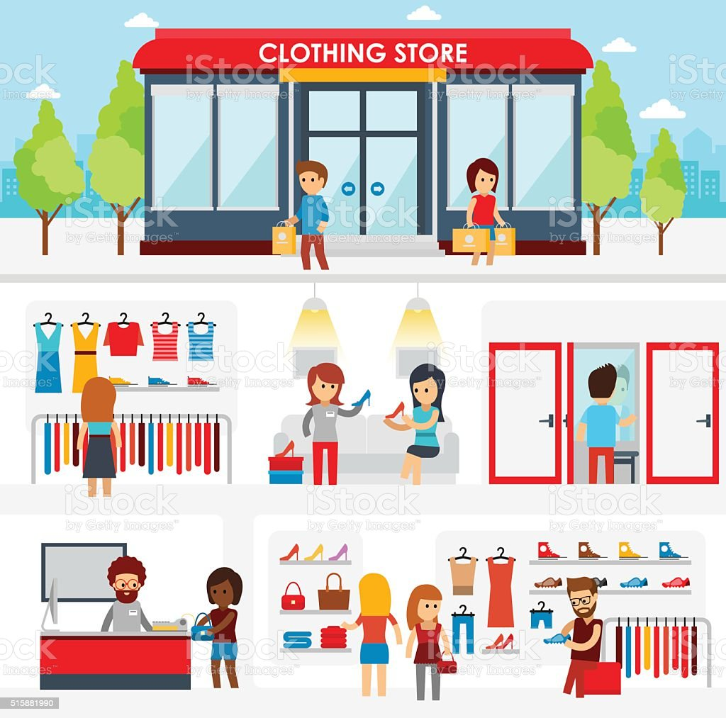 people shopping in the clothing store stock vector art more images
