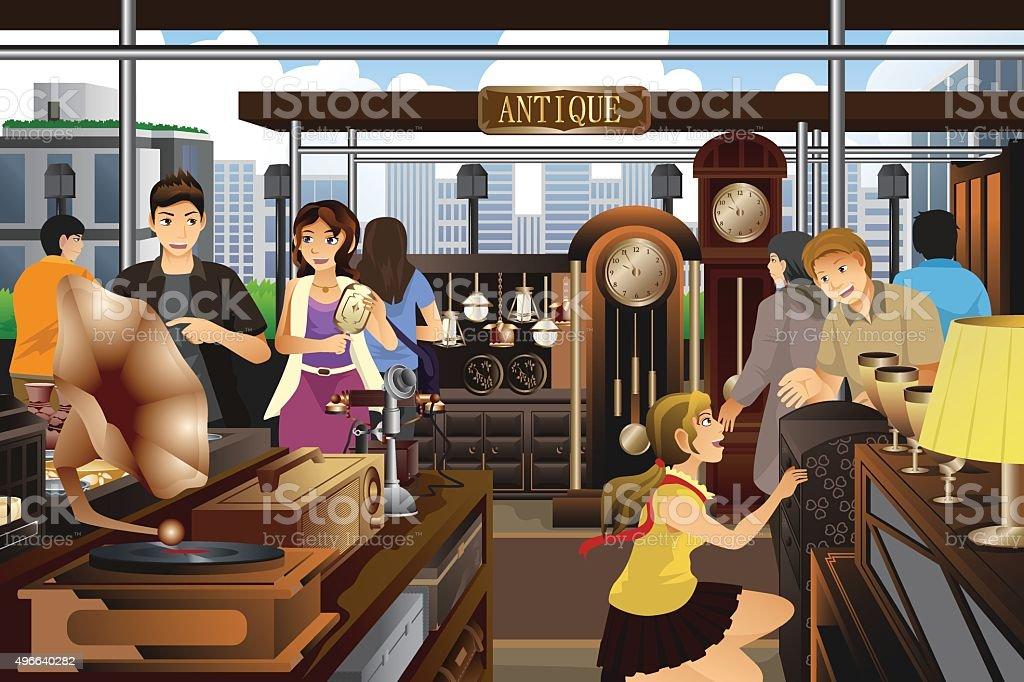 Des achats au marché d'antiquités trucs - Illustration vectorielle