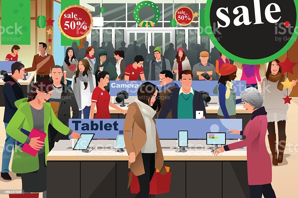 People Shopping on Black Friday vector art illustration