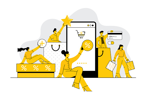 People shopping online concept