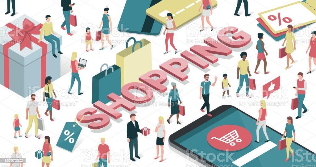 People shopping online vector art illustration
