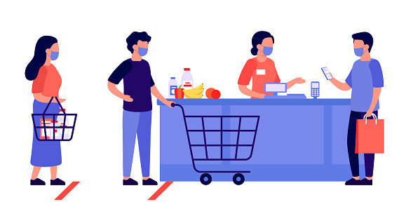 People shopping, queue. Contactless mobile payment for purchases. Social distancing and protective masks. Checkout, supermarket store counter cashier and shoppers with shopping cart of food. Vector