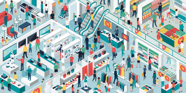 people shopping together at the shopping mall - shopping stock illustrations, clip art, cartoons, & icons
