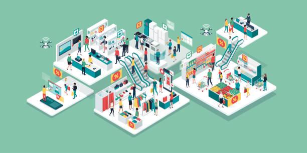illustrazioni stock, clip art, cartoni animati e icone di tendenza di people shopping together at the shopping mall - prodotti supermercato