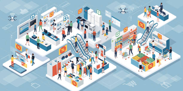 ilustrações, clipart, desenhos animados e ícones de as pessoas às compras juntos no supermercado e realidade aumentada - shopping