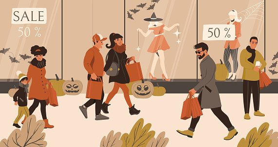 People shopping together before Halloween