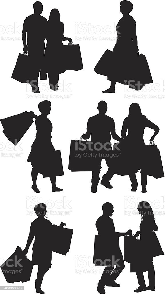 People shopping royalty-free stock vector art