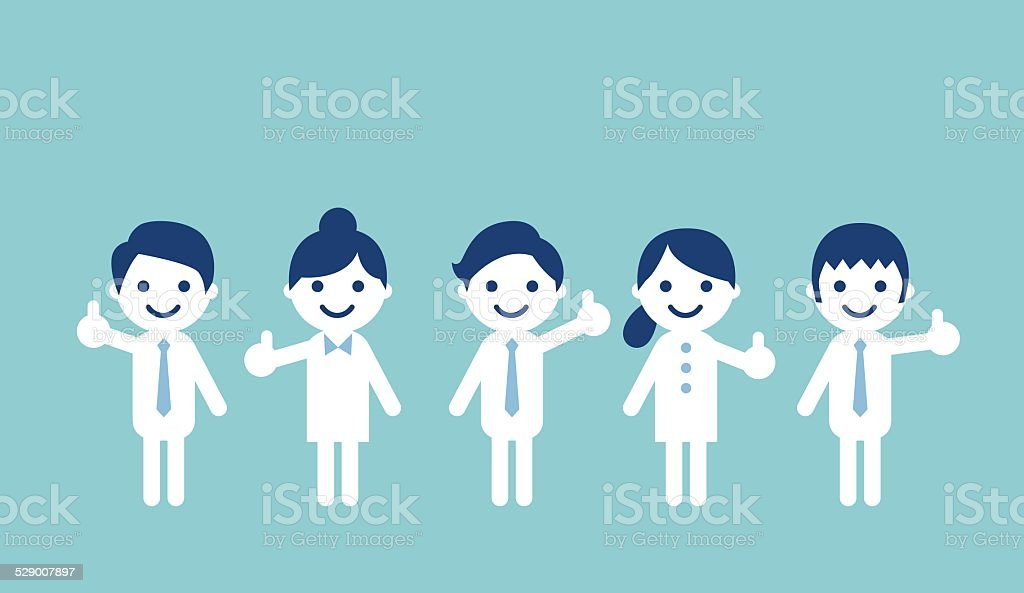 People showing thumbs up vector art illustration