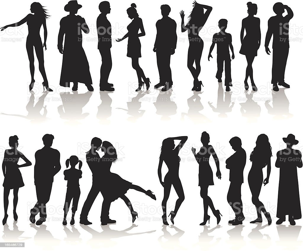 People Silhouette Collection royalty-free people silhouette collection stock vector art & more images of adolescence