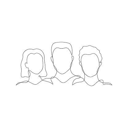 People silhouette one line
