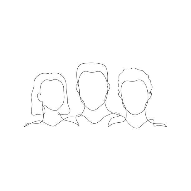 menschen silhouetten eine linie - einzelner gegenstand stock-grafiken, -clipart, -cartoons und -symbole