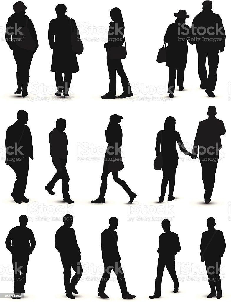 people silhouette vector art illustration