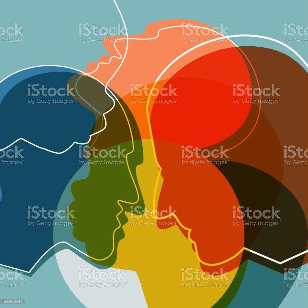 Silhouettes de personnes, adultes et enfants. Ilustration vectorielle. - Illustration vectorielle