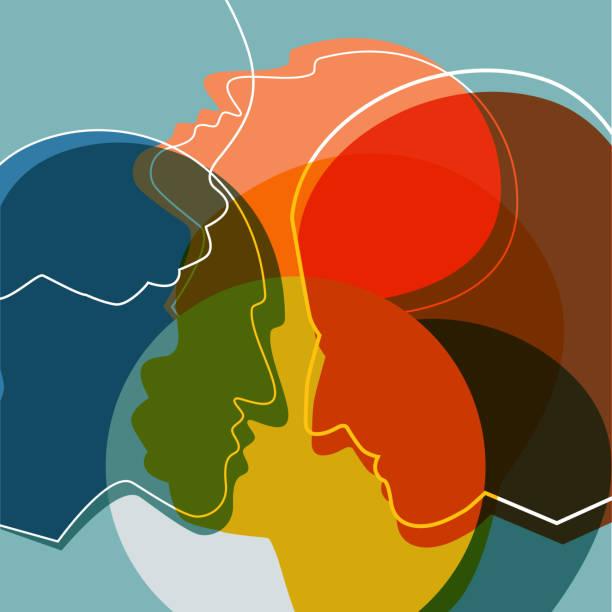 stockillustraties, clipart, cartoons en iconen met mensen silhouetten, volwassene en kind. vector ilustration. - menselijk hoofd