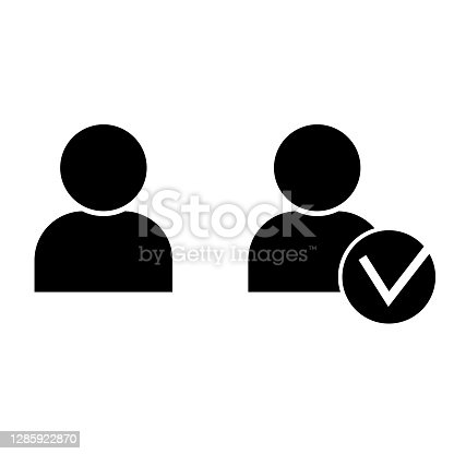 istock People silhouettes check mark, great design for any purposes. Avatar sign. User icon vector. Stock image. EPS10. 1285922870