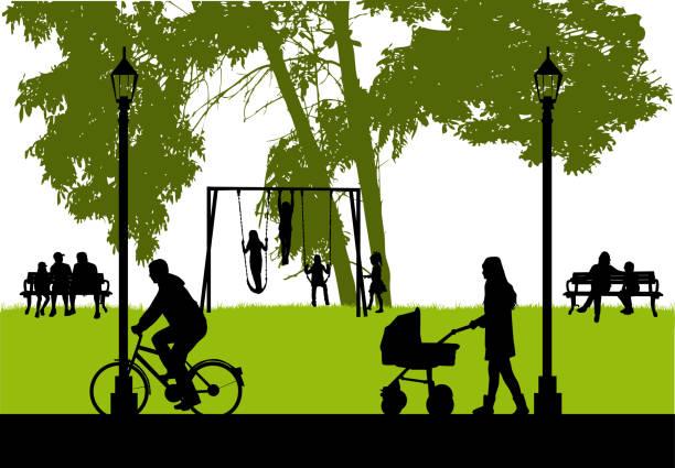 menschen-silhouetten, städtischen hintergrund. - kind schaukel stock-grafiken, -clipart, -cartoons und -symbole