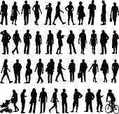 Various silhouettes of everyday people in the city. Running, shopping, walking, jogging, pushing pushchairs and cycling.