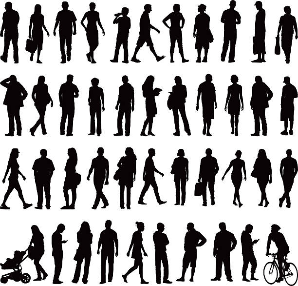People silhouettes Various silhouettes of everyday people in the city. Running, shopping, walking, jogging, pushing pushchairs and cycling. human representation stock illustrations