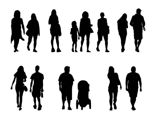 People silhouettes walking vector art illustration