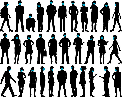 People Silhouettes With Masks