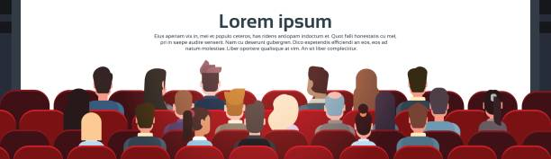 People Sit Cinema Hall Back Rear View Looking Ar Screen With Copy Space People Sit Cinema Hall Back Rear View Looking Ar Screen With Copy Space Flat Vector Illustration audience stock illustrations