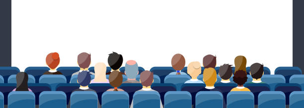 People Sit Cinema Hall People Sit Cinema Hall Back Rear View Looking Ar Screen With Copy Space. vector illustration in flat design. audience stock illustrations