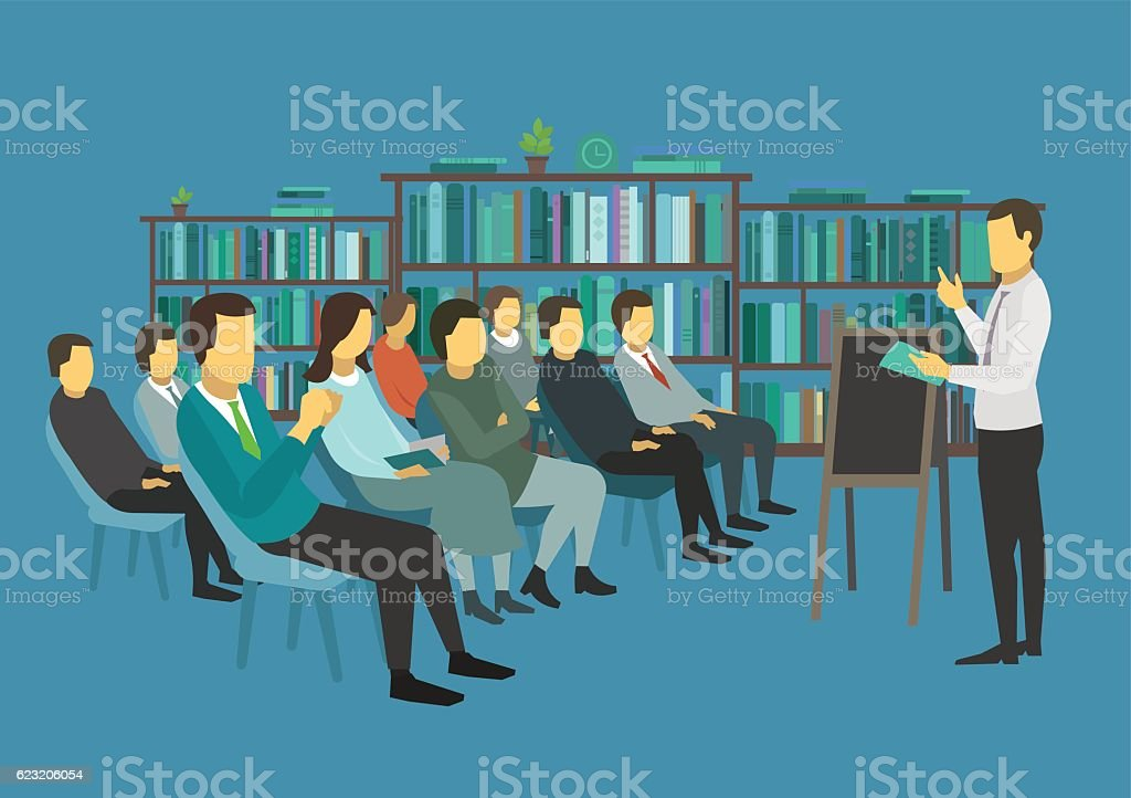 People sit in a room and listen speech speaker. vector art illustration
