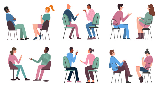 People sit on chairs set, man woman characters in casual clothes sitting on stools