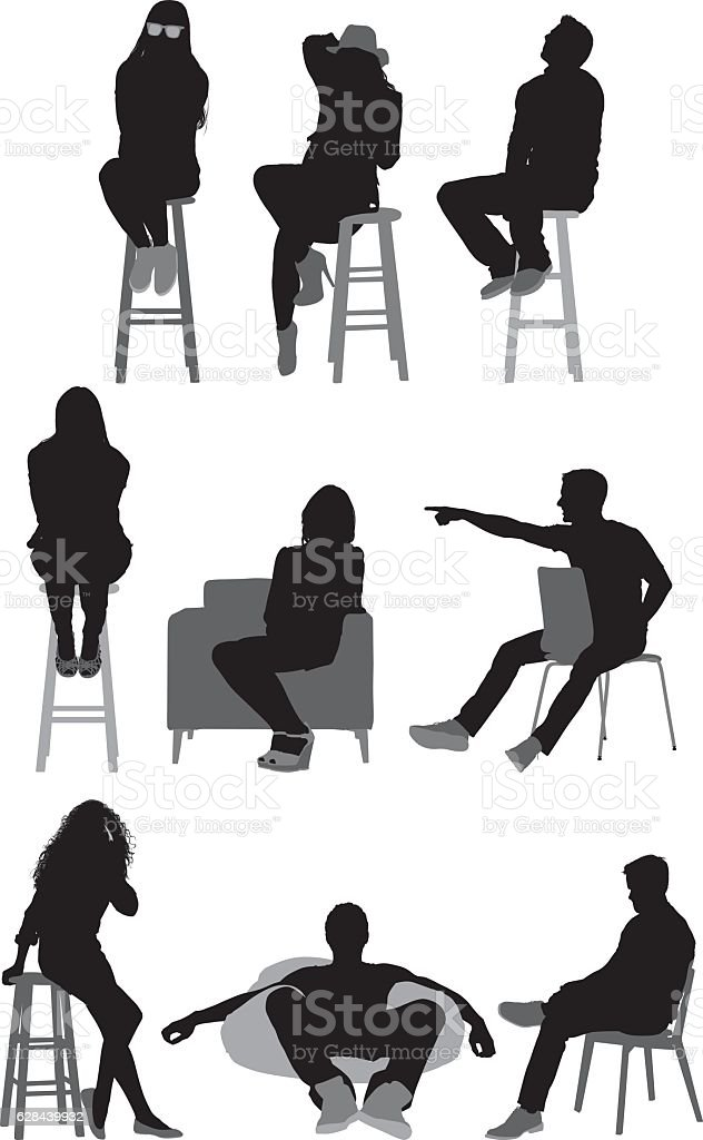 People sitting and in various actions vector art illustration