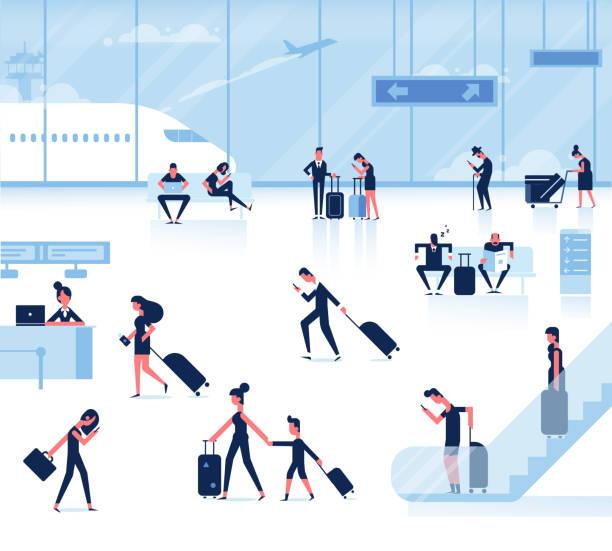 illustrations, cliparts, dessins animés et icônes de les gens assis et marcher dans le terminal de l'aéroport. éléments graphiques d'informations. - terminal aéroportuaire