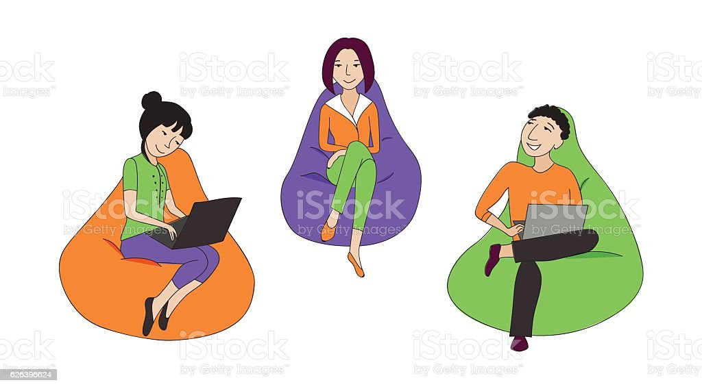 People sitting and working in a bean bag chair vector art illustration