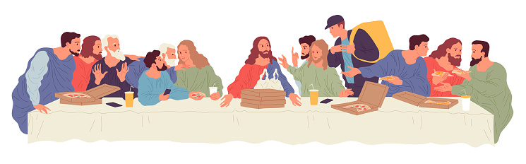 People sitting at table with food delivered by courier from food delivery service. Illustration based on Leonardo Da Vinci painting The Last Supper