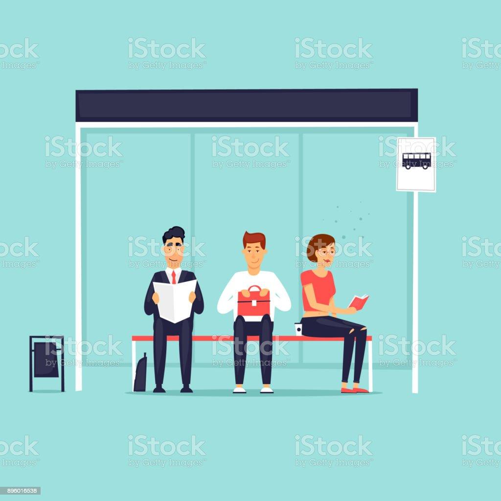 People sitting at the bus stop. Flat design vector illustration. vector art illustration