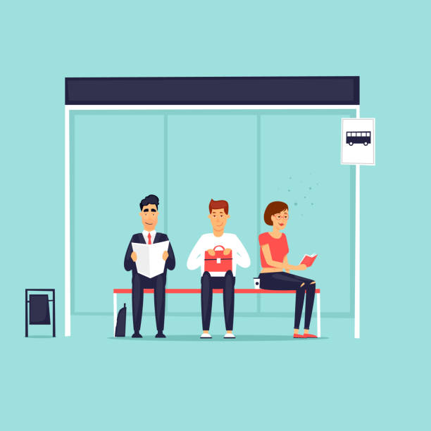 Leute sitzen an der Bushaltestelle. Flaches Design-Vektor-Illustration. – Vektorgrafik