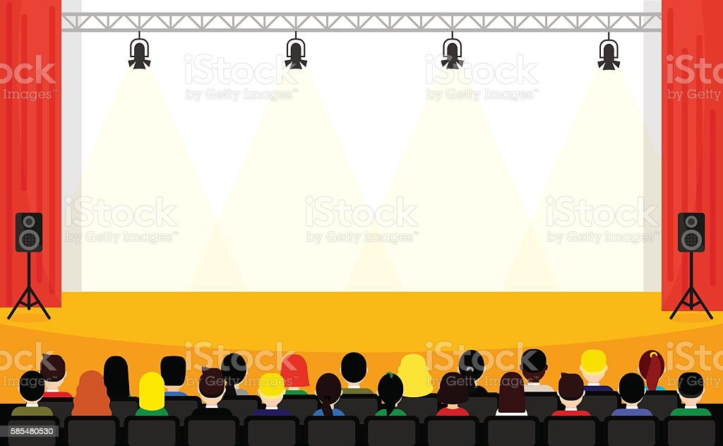 people sitting at the conference in flat style scene template stock