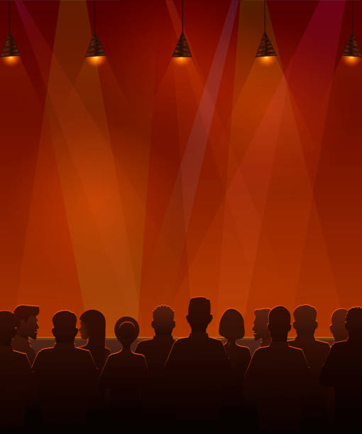 People sitting at the stage. Vector illustration of silhouettes of audience sitting at the stage. Vector illustration of silhouettes of audience sitting at the stage. audience stock illustrations