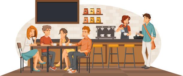 ilustrações de stock, clip art, desenhos animados e ícones de people sitting in a coffee shop. - coffe shop