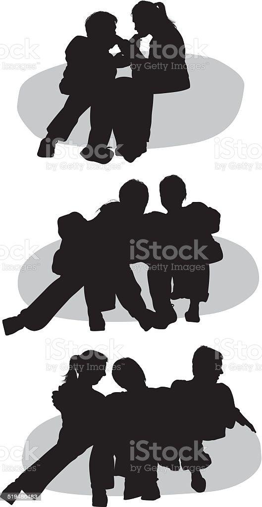 People sitting on beanbag vector art illustration
