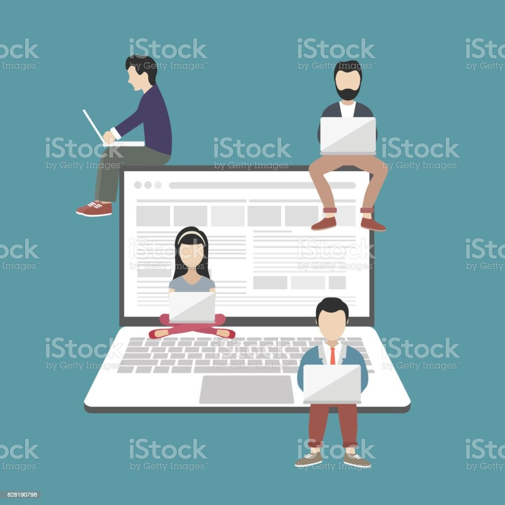 People sitting on big notebook. Social network web site. Surfing concept illustration of young people using lap top to be a part of on line community. Flat vector illustration vector art illustration